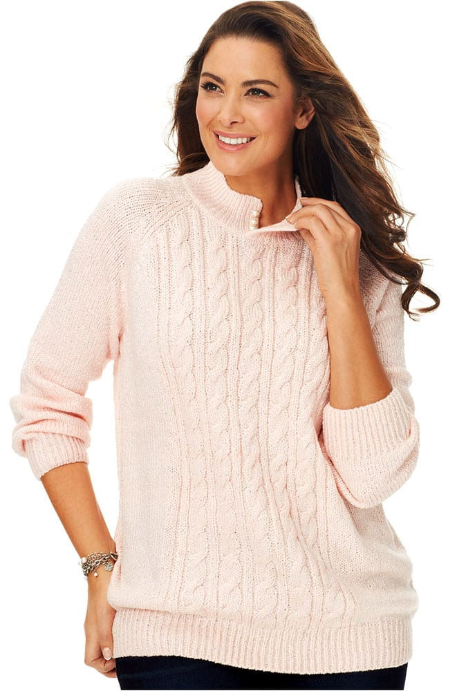cable knit notch collar