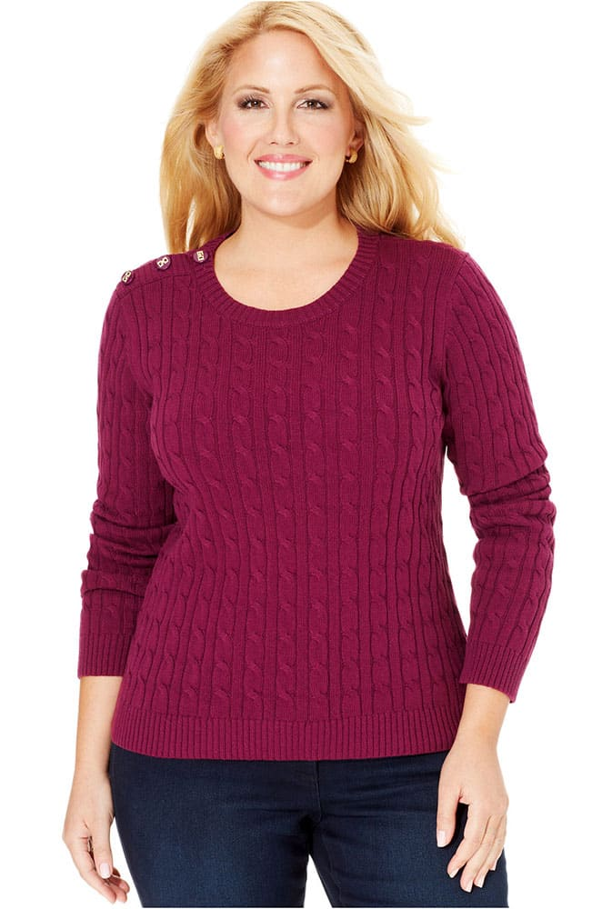 cable-knit plus size sweater