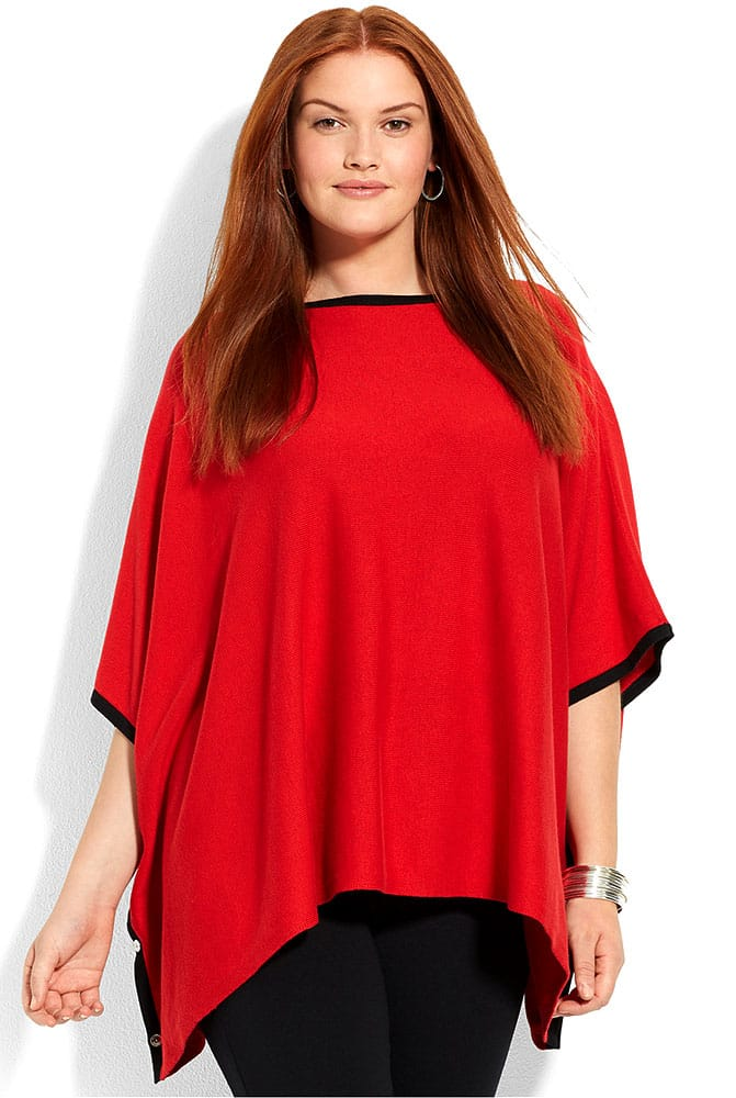 Ribbed poncho sweater