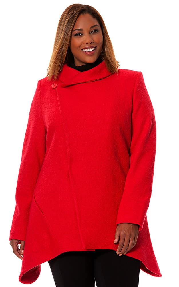 Red Plus Size Asymetrical Coat