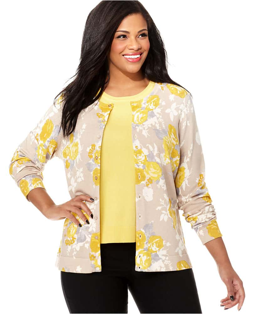 Gray Yellow Floral Cardigan