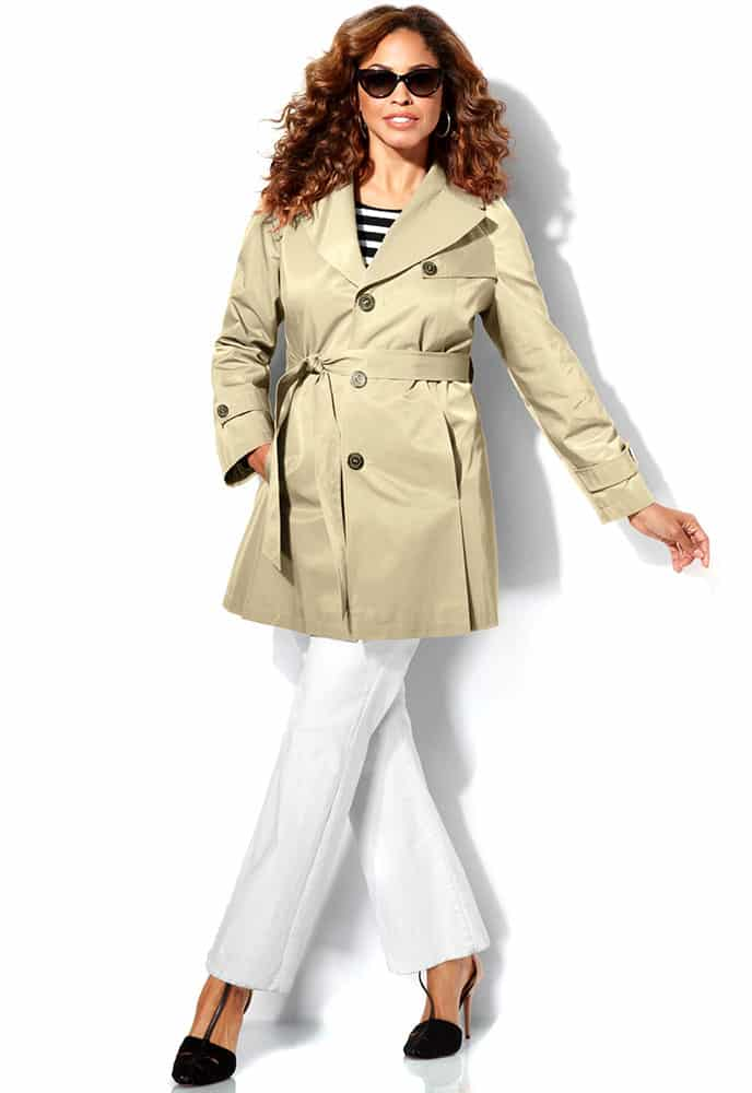 Khaki Plus Size Single Breasted Trench Coat