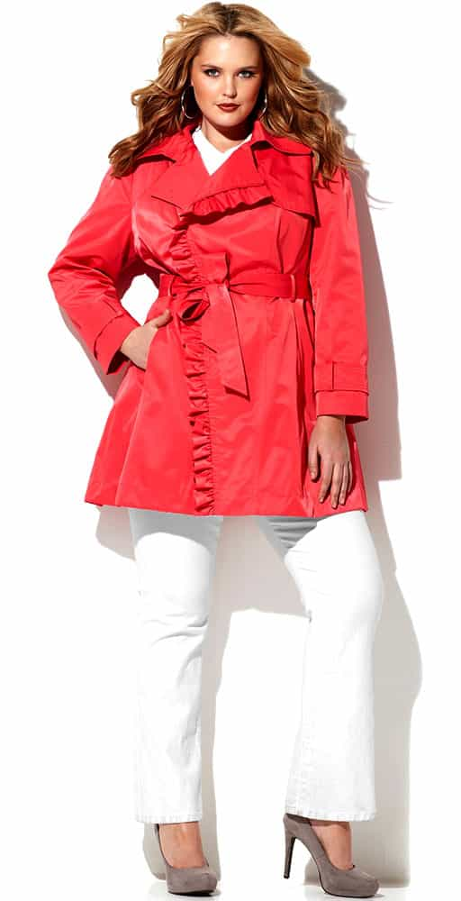 Pink Plus Size Ruffle Trim Trench Coat