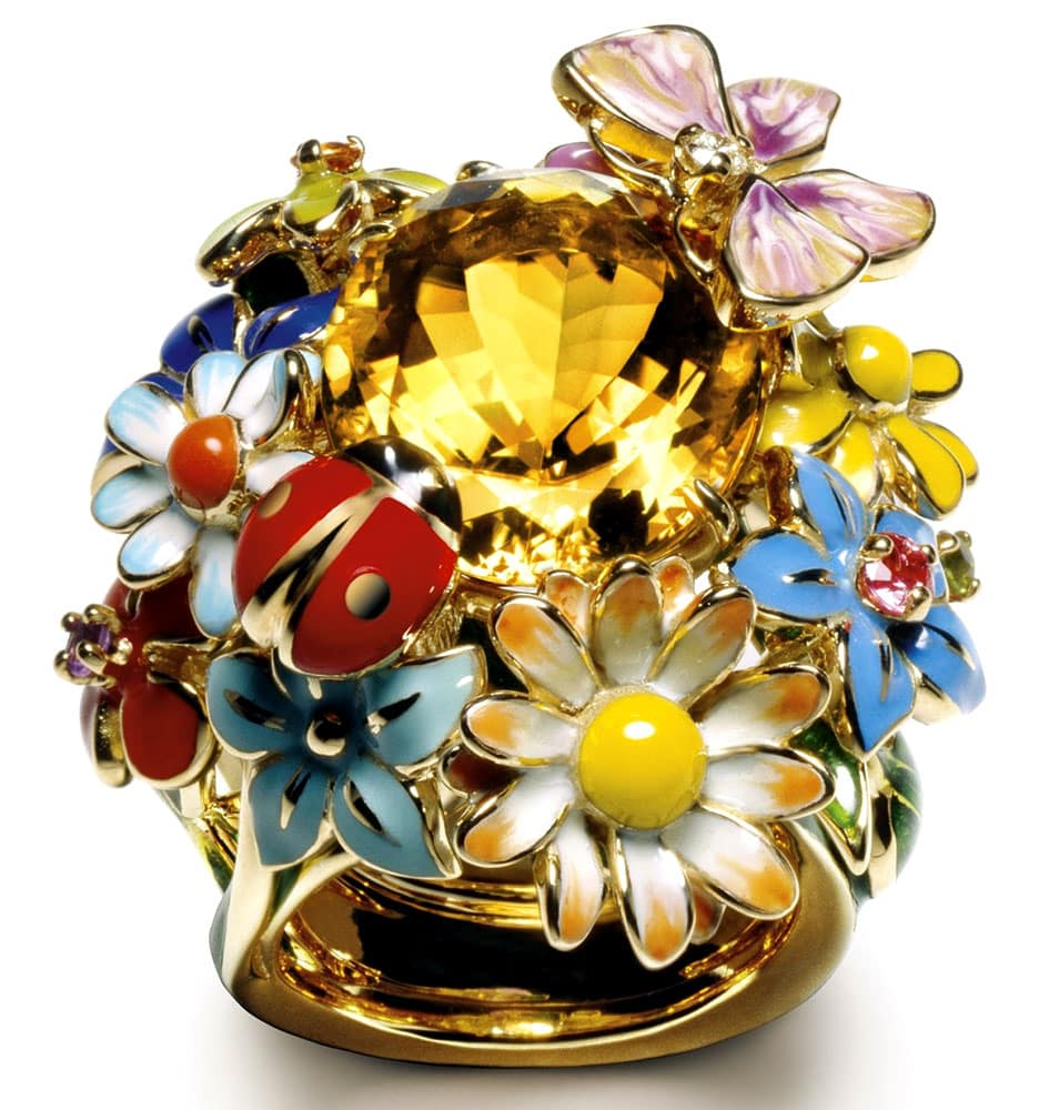 Dior diorette yellow, gold and citrine ring