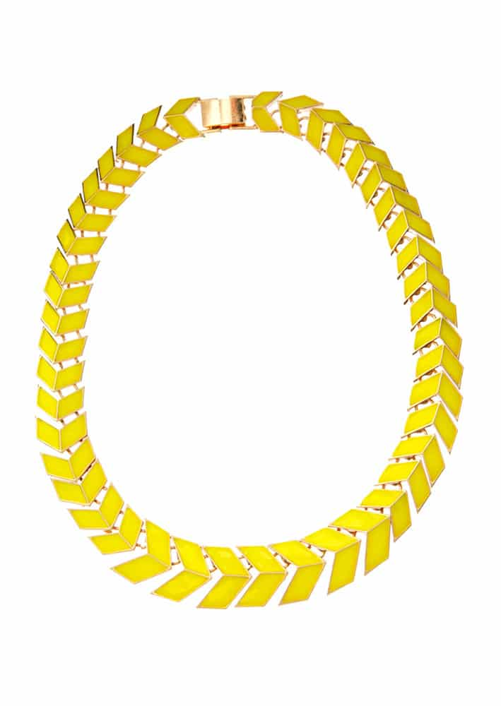 Yellow scale collar necklace