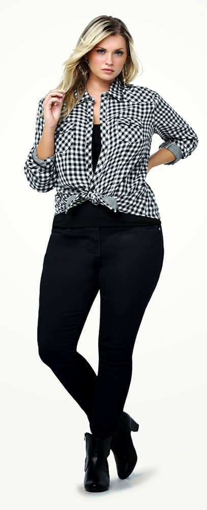Gingham Front Tie Shirt