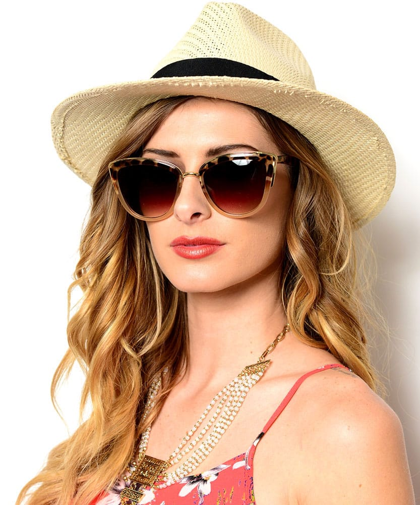 sunglasses straw hat