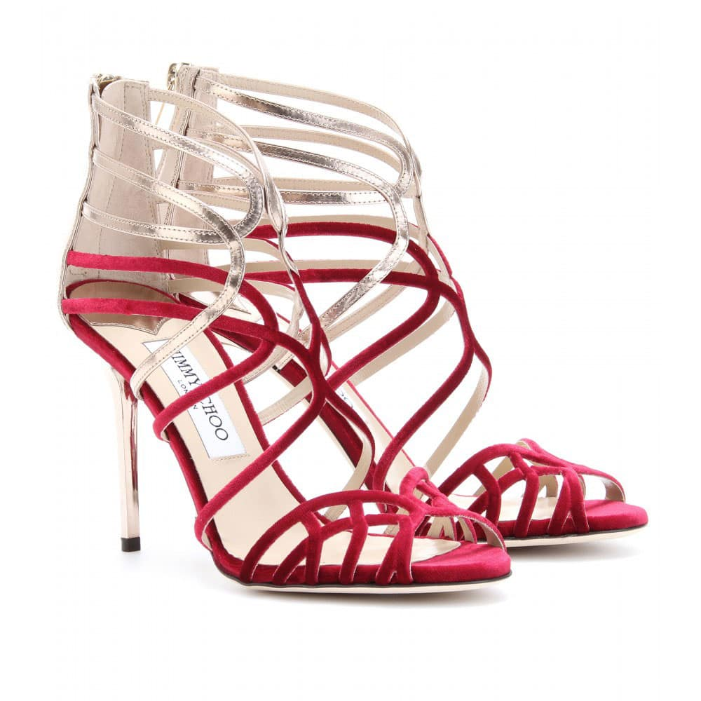 strappy sandals red