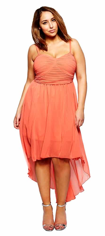 peach chiffon cocktail dress