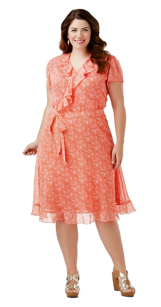 peach chiffon lace dress