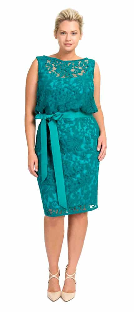 turquoise lace cocktail dress
