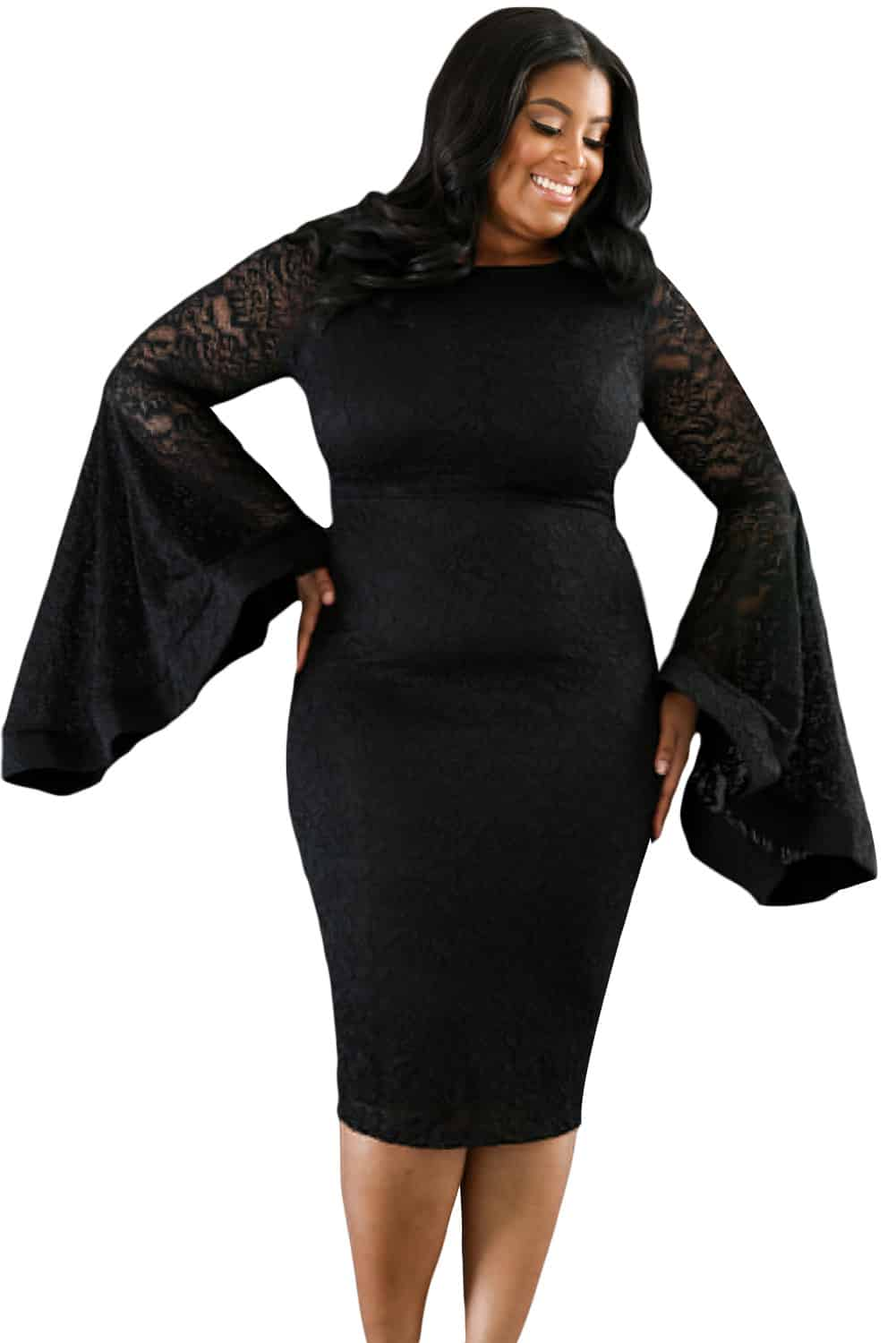 Black Plus Size Bell Sleeves Lace Dress Lc61396 2 2 Curvyplus