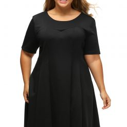 Black V Back Lace Hemline Curvy Skater Dress