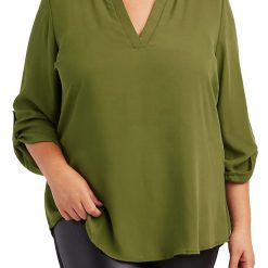 Green Plus Size Caged Shoulder Split Collar Blouse