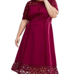 Red Floral Lace Splice Short Sleeve Curvy Dress