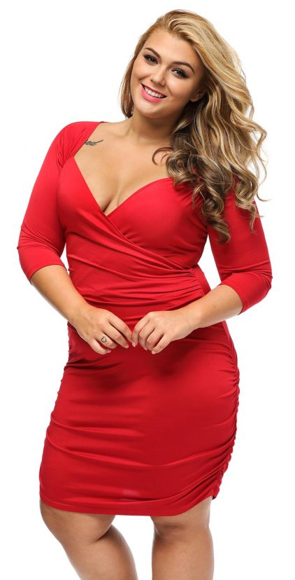 Red Half Sleeve Ruched Curvy Dress