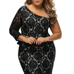 Black Lace Illusion Curvaceous One Shoulder Peplum Dress