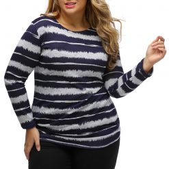Navy Embellished Tie-Dye Stripe Plus Size Top