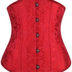 Plus Size Red Jacquard Underbust Corset with 24 Steel Bones