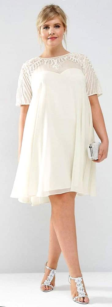 Plus Size A Line White Dress 01