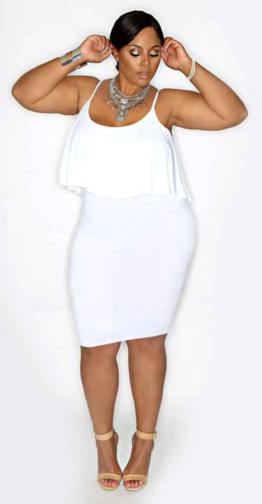 Plus Size Bodycon White Dress 01