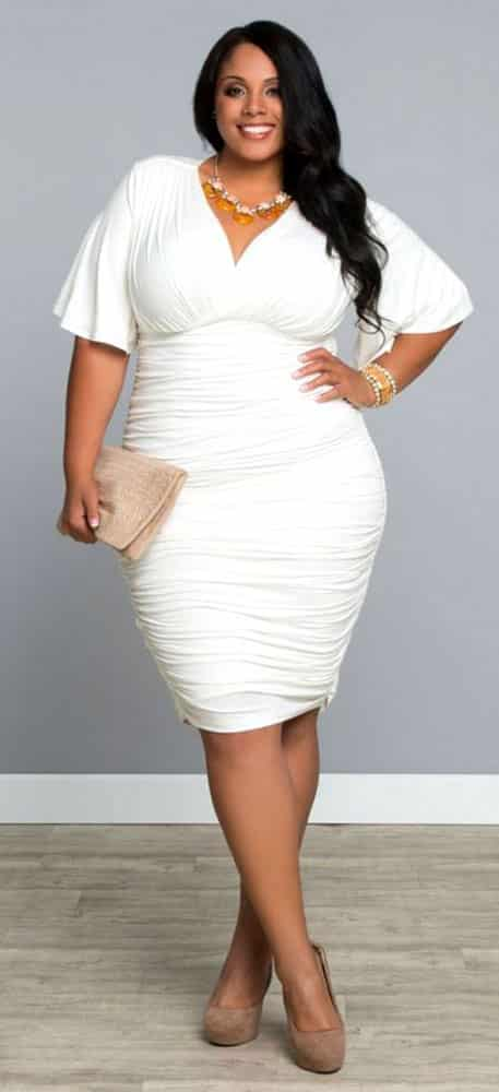 Plus Size Bodycon White Dress 03