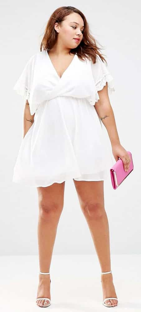 Plus Size Empire Waist White Dress 01
