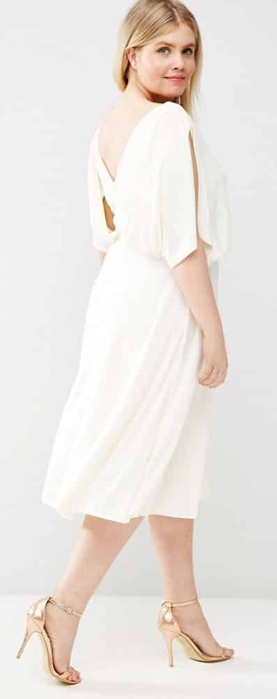 Plus Size Empire Waist White Dress 02