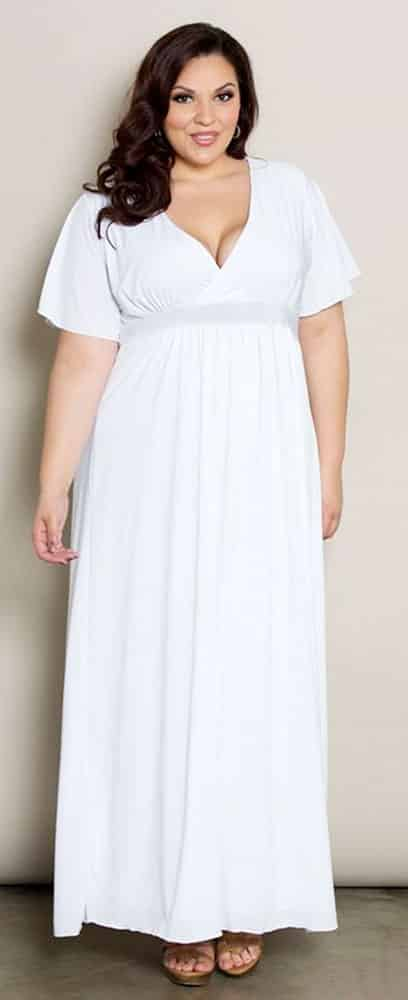 Plus Size Empire Waist White Dress 03