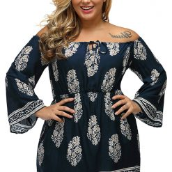Floral Print Bardot Neck Off-shoulder Dress