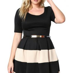 Apricot Striped Belted Plus Size Skater Dress