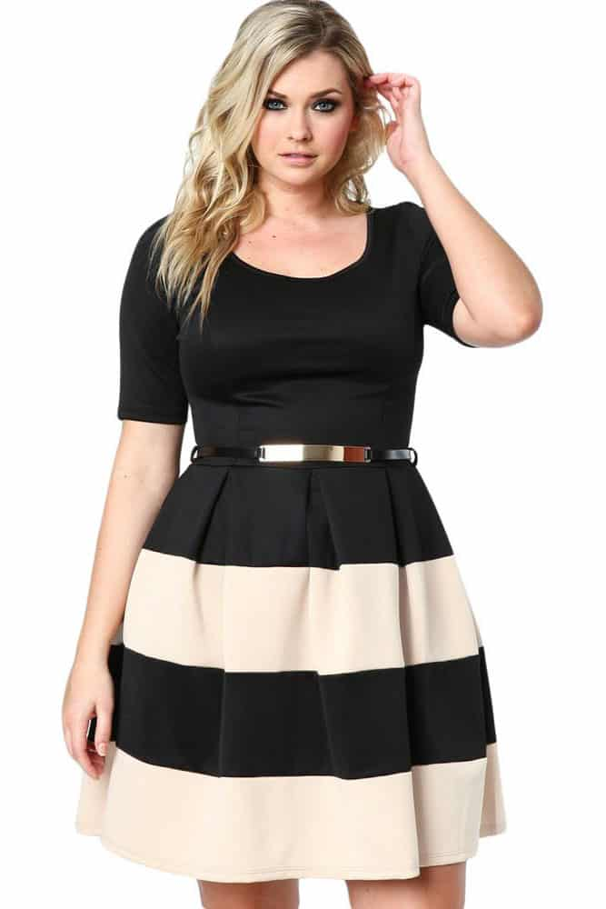 Apricot Striped Plus Size Skater Dress