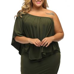Army Green Multi Layered Mini Dress