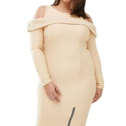Ribbed Cold Shoulder Apricot Long Sleeves Dress
