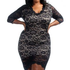 Black Lace Overlay High Low Dress