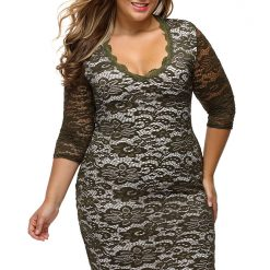 Olive Lace Overlay High Low Dress