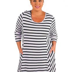 Black White Stripes Relaxed Curvy Dress