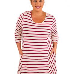 Burgundy White Stripes Relaxed Curvy Dress