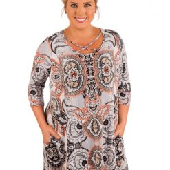 Grey Marsala Printed Crisscross Neck Curvy Dress