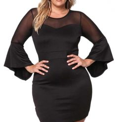 Black Mesh Trim Bell Sleeve Bodycon Dress