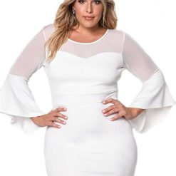 White Mesh Trim Bell Sleeve Bodycon Dress