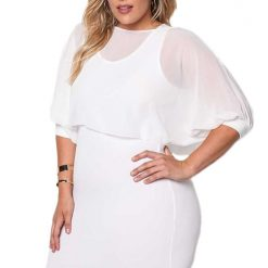 White Chiffon Layered Bodycon Dress