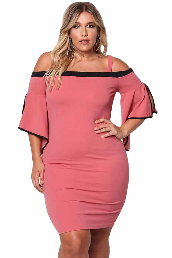 Pink Cold Shoulder Bell Sleeve Bodycon Dress