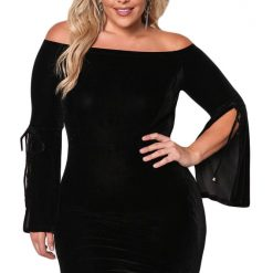 Black Velvet Off Shoulder Bell Sleeve Dress