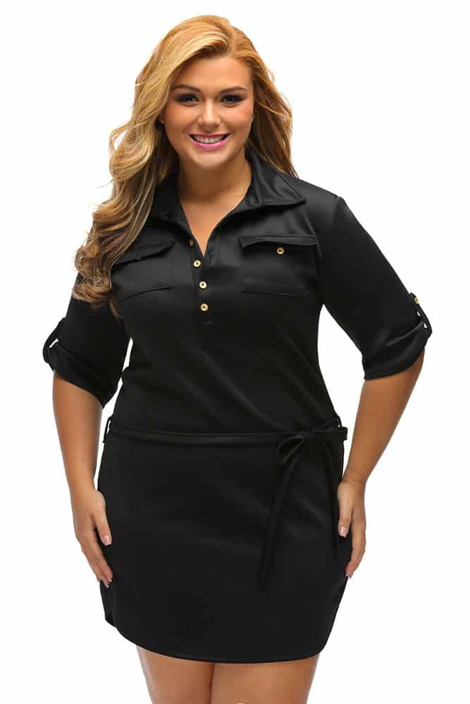 Black Belted Textured Shirt Dress