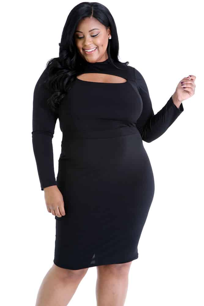 Black Long Sleeve Keyhole Bodycon Dress