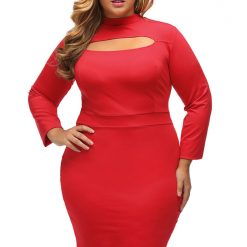Red Long Sleeve Keyhole Bodycon Dress