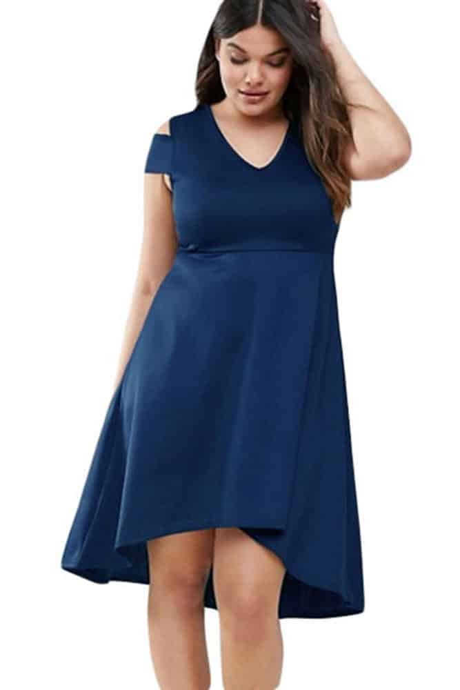 Navy Blue Exposed Shoulder Skater Dress