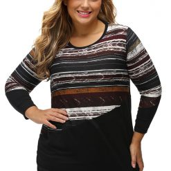 Blackish Striped Contrast Splice Top