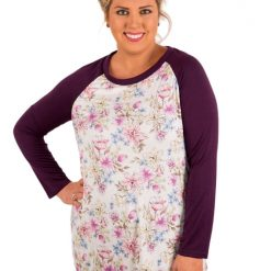 Wine Raglan Sleeve White Floral Top